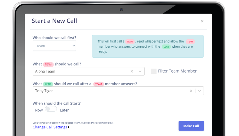 <strong>Engage your sales team through the web or automatically call when new leads come in</strong>